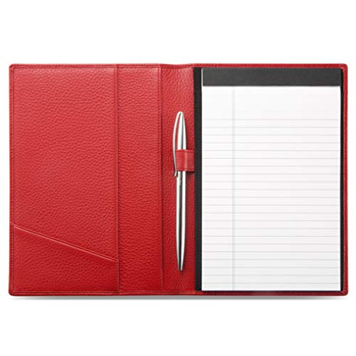 HISCOW Classy Leather Junior Padfolio with Pen Loop - Italian Calfskin (Pebbled Red)