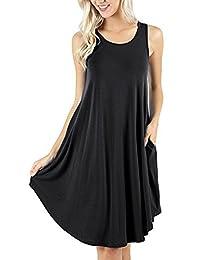 ZIOOER Women's Summer Casual Flowy Pockets Loose Beach Sleeveless T-Shirt Dresses