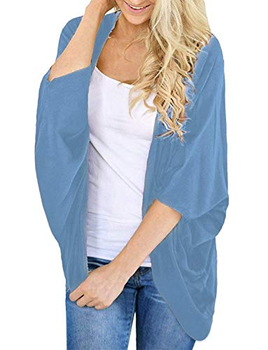 Women's Kimono Cardigan Sweaters Solid Colors Open Front Cover Ups(Sky Blue, L)