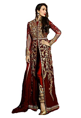 - New Indian/Pakistani Designer Georgette Party Wear Anarkali Suit VF-3 (Red, S-38)