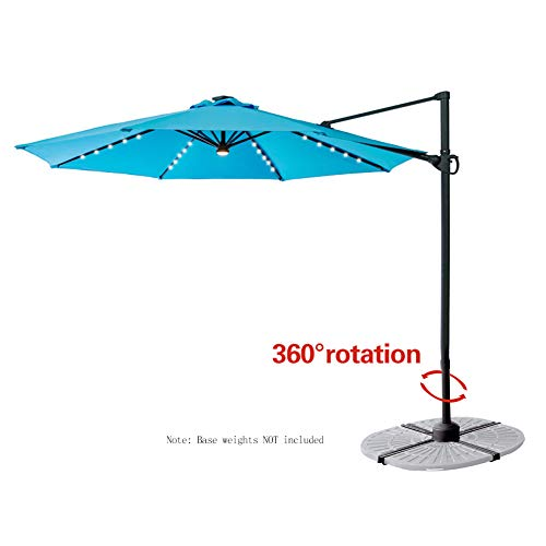 Aqua Blue Pools - FLAME&SHADE 10' Offset Cantilever Hanging LED Market Umbrella with Solar Lights and Tilt for Patio Table Outdoor Balcony or Pool, Aqua Blue
