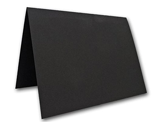 Blank Black Place Cards Tent Cards - 50 Pack | Size 3.5'' x 5'' Flat 2.5'' x 3.5'' Folded