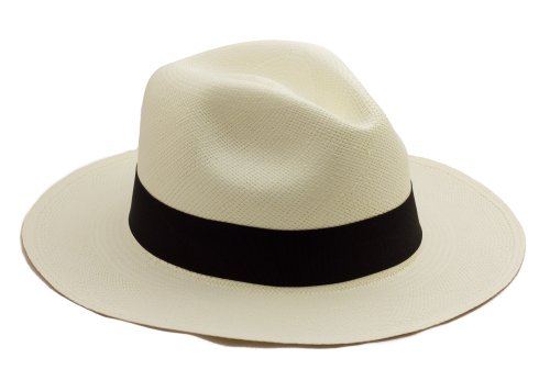Tumia - Fedora Panama Hat - White with Black Band - Lightweight rollable version. 61cm