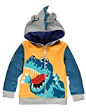Boys Hoodies for Kids Jumper Cotton Top Dinosaur Crocodile Zipped Sweatshirt Jacket Long Sleeve T Shirt Casual Toddler Clothes Autumn Winter 1-7 Years (Yellow, 6-12 Months)