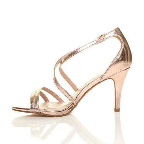 Women Ajvani Sandals Size Heel Shoes Rose Gold High UqdRrq