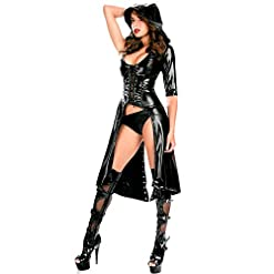 Women Faux Leather Cape Cloak Cosplay Halloween Costume Punk Gothic Dress Lace Up Catsuit Hooded Cape Jumpsuit