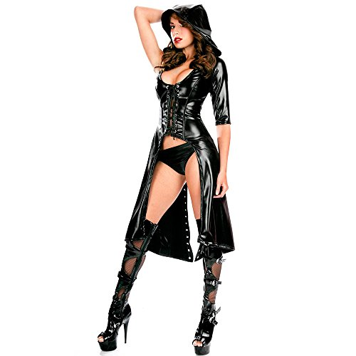 Wonder Pretty Women's Faux Leather Cape Cloak Costume Punk Gothic Dress Lace up Catsuit Hooded Cape Jumpsuit, Black, Small -