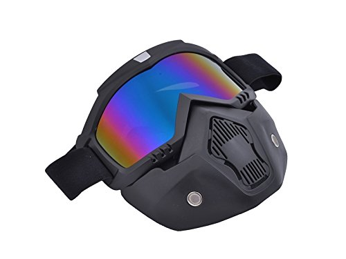 Junson Cycling Retro Face Mask Goggles for Open Face Helmet Off-Road Riding Full Face Goggles Removable Goggles(Colorful) for Sports by Junson