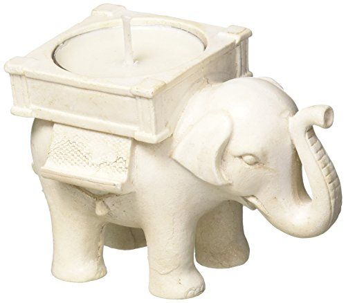 - Lucky Elephant Antique Ivory-Finish Tea Light Holder