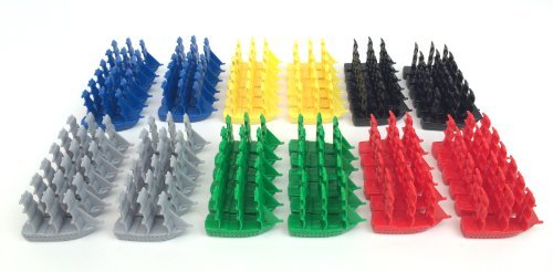 Napoleonic Miniature Navy Sailing Ships: Plastic Sailboat Figurines: Red, Blue, Yellow, Green, Black and Grey Toy Boats
