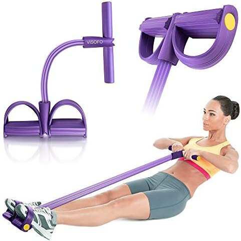 VISOFO Pedal Resistance Band, 4-Tube Natural Latex Yoga Pedal Puller Resistance Band, Multifunction Tension Rope for Abdomen, Waist, Arm, Yoga Stretching Slimming Training