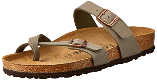 (Birkenstock Women's Mayari Adjustable Toe Loop Cork Footbed Sandal Stone 37 M EU)