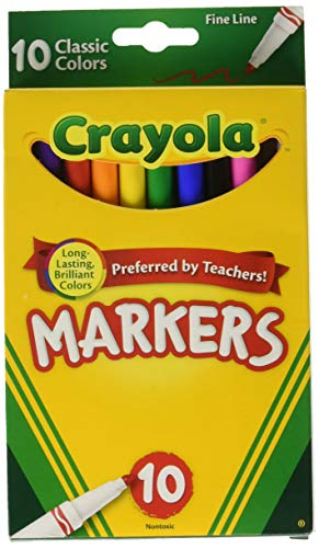 Crayola Markers, Fine Line, Classic Colors, 10 ct. (3 Pack)