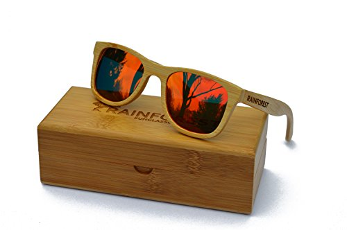 Bamboo Wood Wayfarers for Women and for Men - Polarized Sunglasses with UV400 Protection and Red REVO Mirrored TAC Lenses - Float in the Water - Durable, Unisex, Lightweight - Premium Designer Eyewear by Rainforest