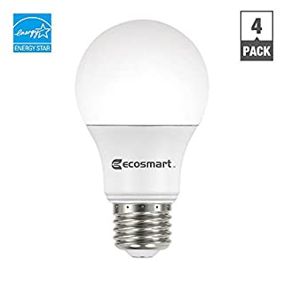 EcoSmart A19 A460ST-Q1D-01 40W Equivalent Dimmable LED Light Bulb, Soft White, (Pack of 4)