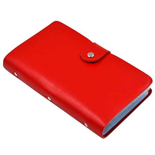 Esdrem Soft Leather Business Name Card Holder Book Credit Card Holder Wallet with 90 Card Pockets (Red)