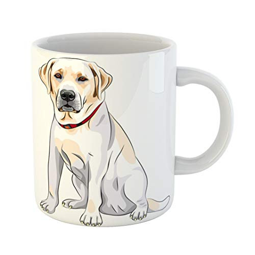 (Emvency Coffee Tea Mug Gift 11 Ounces Funny Ceramic Portrait of Serious Yellow Dog Breed Labrador Retriever Sits Gifts For Family Friends Coworkers Boss)