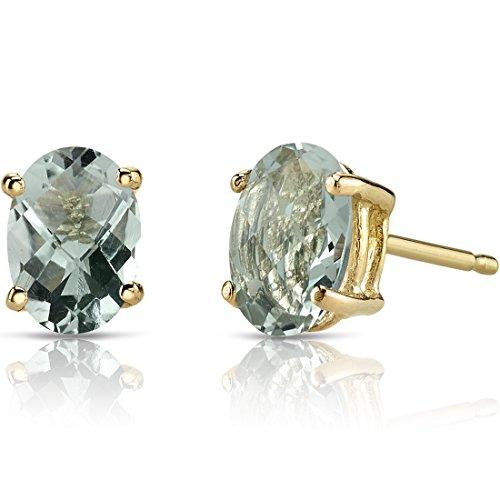 1.50 Carats Green - 14K Yellow Gold Oval Shape 1.50 Carats Green Amethyst Stud Earrings