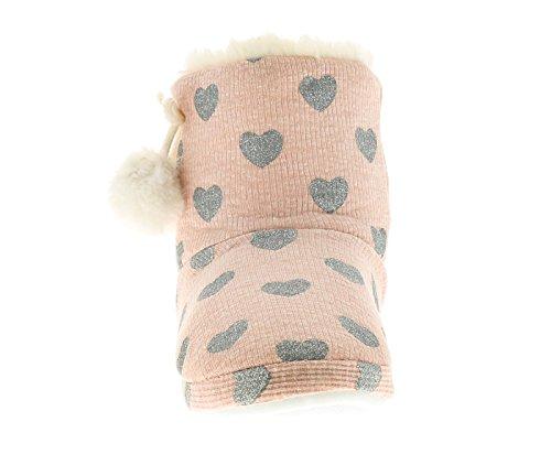 Mädchen Kunstpelz gefüttert Stiefelette Hausschuh weich Textil mit Silber Glitzer Herz Aufdruck Schleife und Pom Pom Trimm zu dem Seite - hellrosa - UK Größen 1-13