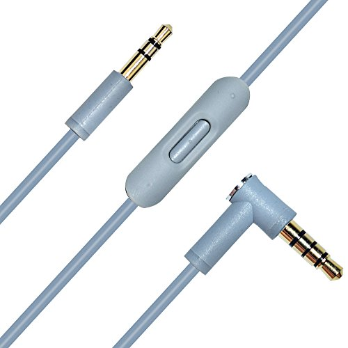 Replacement Audio Cable Cord Wire with In-line Mic and Remote Control Compatible Beats Solo/Studio/Pro/Detox/Wireless/Mixr/Executive/Pill (Grey)