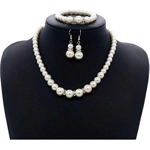 Wedding Bridal Jewelry Set, Kollmert Women 2017 Prom Party Faux Pearls Chain Necklace Earrings Bracelet