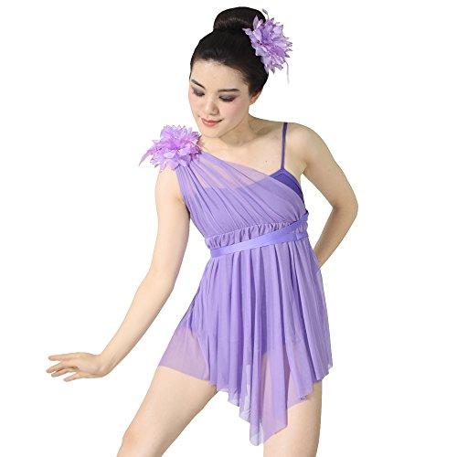 MiDee Lyrical Dress Dance Costume One Shoulder Pleats Camisole Triangle Skirt (IC, - Camisole Pleats