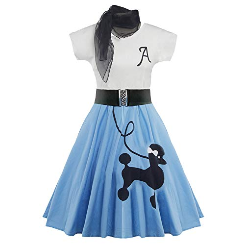DressLily Retro Poodle Print High Waist Skater Vintage Rockabilly Swing Tee Cocktail Dress (Small, Light Blue)