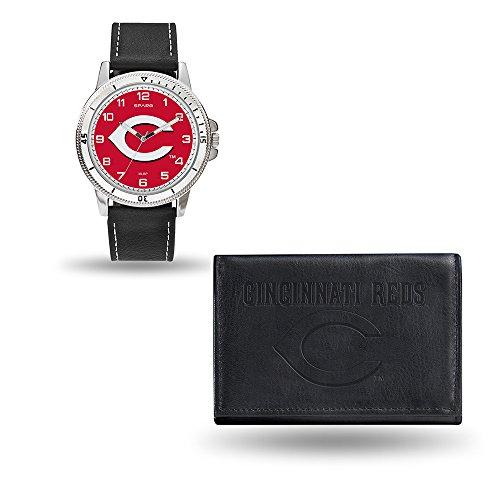 MLB Cincinnati Reds Men's Watch and Wallet Set, Black, 7.5 x 4.25 x 2.75-Inch