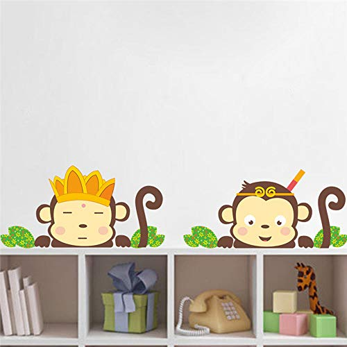ajhsuwn Lovely Monkeys Wall Stickers for Kids Rooms Children Wall Decals Mural Poster Girls Boys Kids Home Bedroom Nursery Room Decor