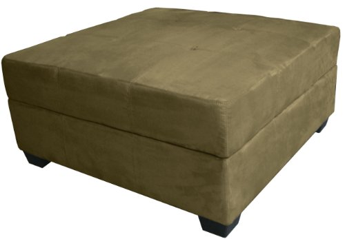 Epic Furnishings Vanderbilt 36-Inch Large Square Tufted Padded Hinged Storage Ottoman Bench, Microfiber Suede Olive Green