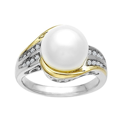 Freshwater Cultured Pearl Ring with 1/10 ct Diamonds in Sterling Silver and 14K Gold Size 7 by Finecraft