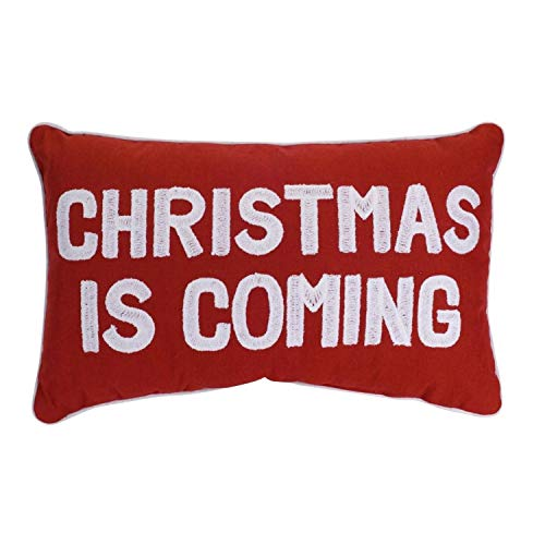 Diva At Home Set of 2 Red and White Christmas is Coming Christmas Rectangular Throw Pillow 18.5