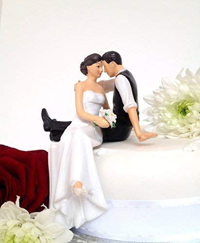 WEDDING CAKE TOPPERS - BRIDE AND GROOM, SITTING, STANDING, WEDDING DECORATION, PRESENT (CAKE TOPPER 10) -