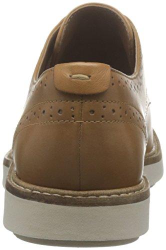 Light Oxford Mujer Marrón de Shine Tan Glick Lea Zapatos Cordones para Clarks SOXzwqpx