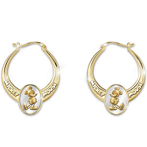 Disney Earrings: Celebrate Mickey Mouse Hoop Earrings by The Bradford Exchange