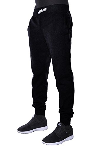 Hat and Beyond Mens Basic Fleece Jogger Pants 2X (Black Sweatpants)