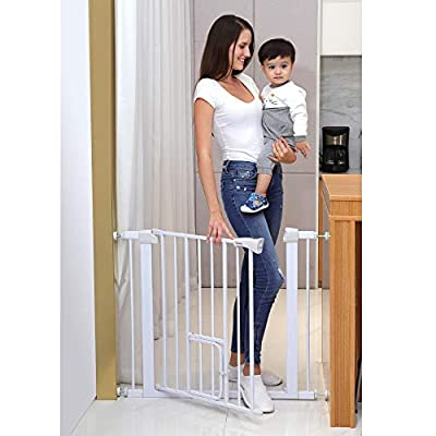 Cumbor Auto Close Safety Baby Gate, Easy Open Extra Tall Thru Gate with Pet Door, Fits Spaces Between 29.5 to 38.5 Wide, 4 Wall Cups and 2 Extend Included for Stairs Doorways Play Yard