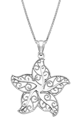 Sterling Filigree Starfish Necklace Pendant