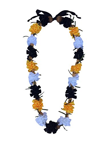 Hawaiian Ribbon Lei, Black and White and Gold-Ilima 32 Inch by Hawaii UWT
