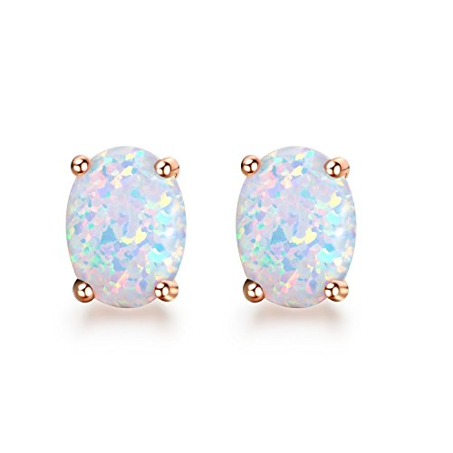 Opal Stud Earrings Rose Gold Tone Oval shape Earrings Birthstone for Women Girls - Gold Oval Opal Earrings