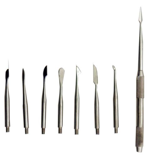 9 Piece Set Of Scalpels With Handle - Arrowhead, Spoon, Spat