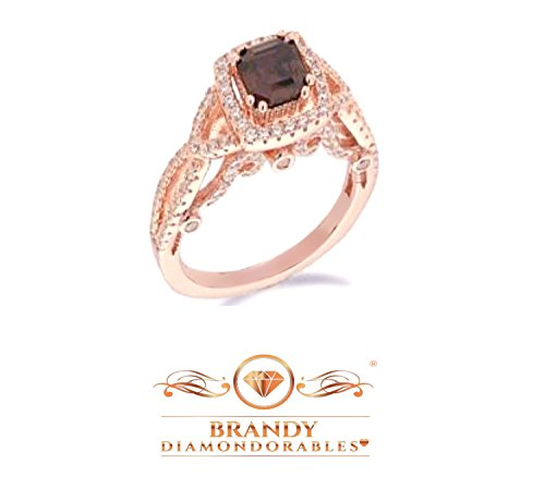 (Brandy Diamondorables Chocolate Brown 18k Rose gold Silver Eye Catching Princess Ring 4-1/2)