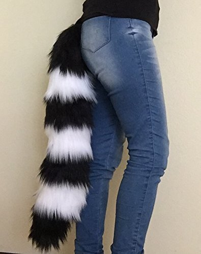 Bianna Raccoon Black and White Luxury Faux Fur Animal Cosplay Tail, Handmade 20 25 30 35 40'' Anime Convention Rave Costume Gear, Furry Fuzzy Striped Accessory by Bianna Creations