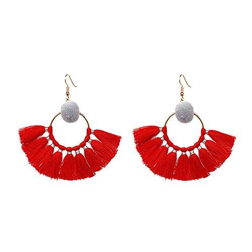 lureme Bohemia Ethnic Chandelier Pom Pom Thread Drop Pendant Dangle Tassels Earrings-Red(er005672-2)