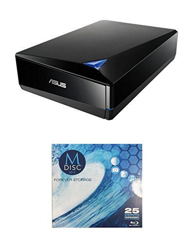 Asus 12x BW-12D1S-U Lite External Blu-ray Writer Bundle with 1 Pack M-DISC BD - Supports USB 3.0 (Black, Retail Box) by Produplicator