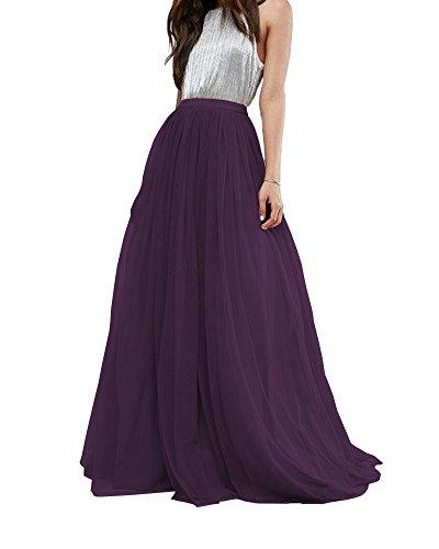 CoutureBridal Women's Bridal Prom Tulle Long Skirt Party Floor Length Dark ()
