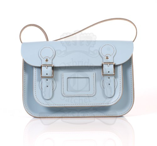 Leather Satchel's, Borsa a spalla donna Blu cielo