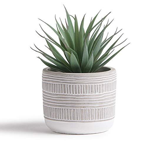Kurrajong Farmhouse 7.5″ x 4.5″ Artificial Plant in Pot – Beautiful Feaux Plant for Bedroom Decor, Shelf Decor or as a Realistic Fake Desk Plant – Artificial Succulent Plants Potted – Faux Succulents