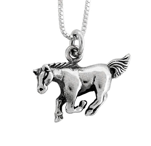 - Sterling Silver Chinese Zodiac Horse Charm Necklace, 18