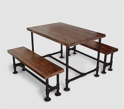 WGX Industrial Solid Wood Picnic Table Style Dining Room Table and Benches SetOutdoor Dining & Amazon.com: WGX Industrial Solid Wood Picnic Table Style Dining Room ...